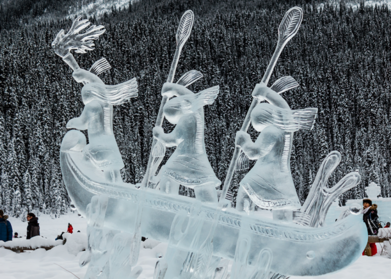 Ice canoe sculpture at Lake Louise, Canada