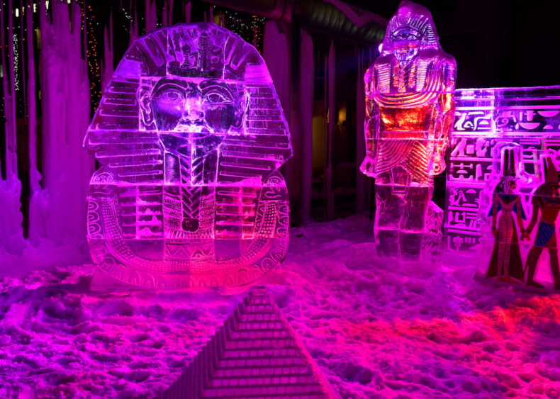 King Tut ice sculpture and burial mask in Toronto