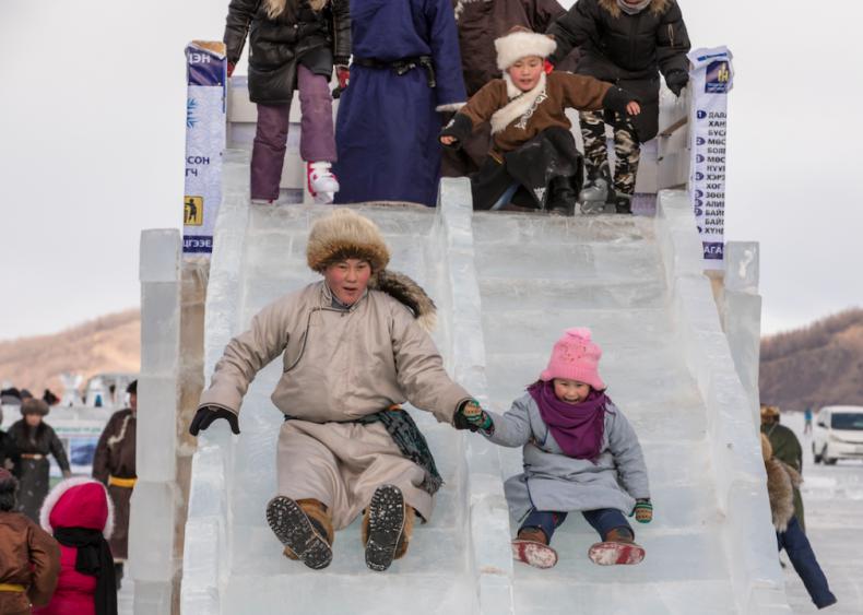 Frozen ice slide in Khuvsgul, Mongolia