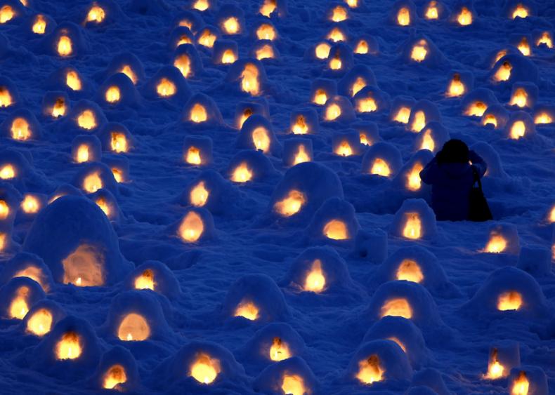 Miniature Kamakura, or snow huts, in Akita, Japan