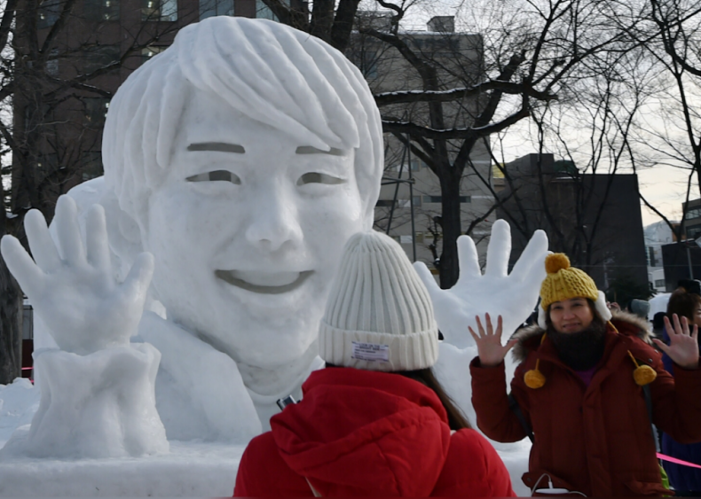 Snow sculpture of Yuzuru Hanyu, Japanese figure skater
