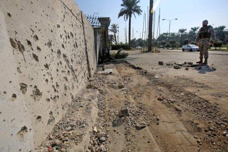 Iraq Baghdad US embassy rocket attack damage
