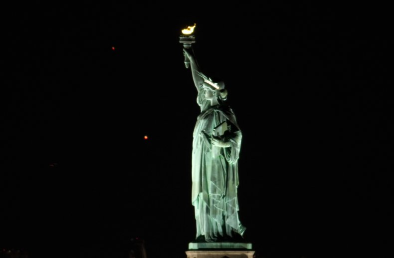 Saturn and Jupiter behind Statue of Liberty
