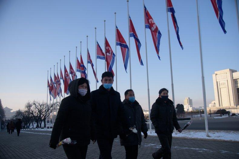 North Koreans amid coronavirus in Pyongyang event