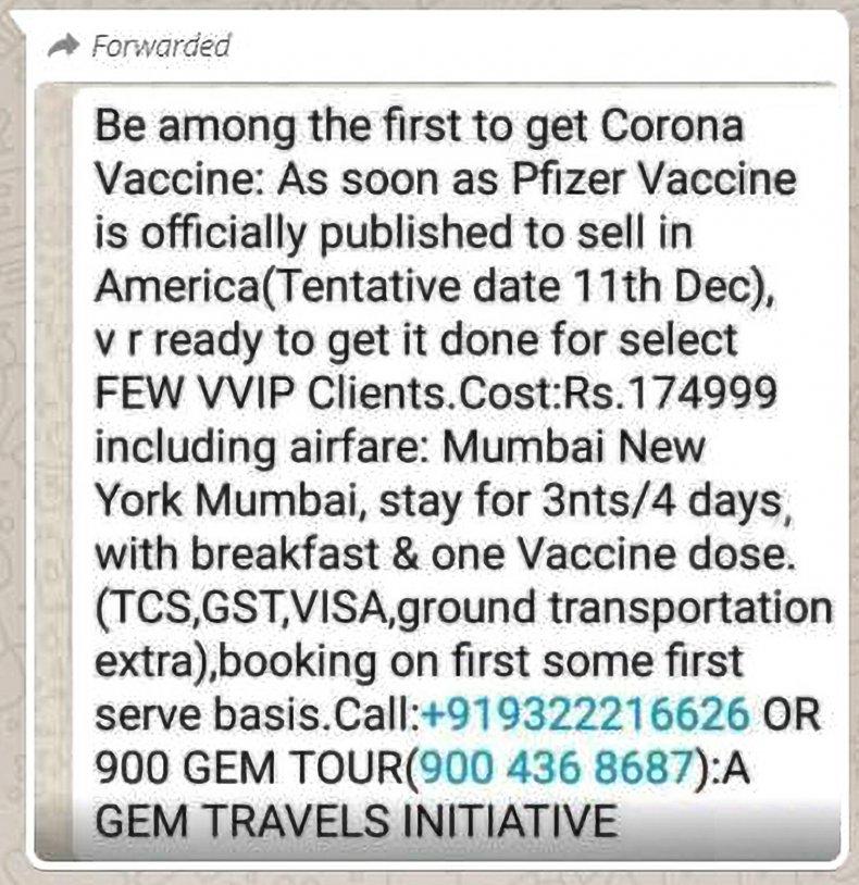 Whatsapp vaccine ad
