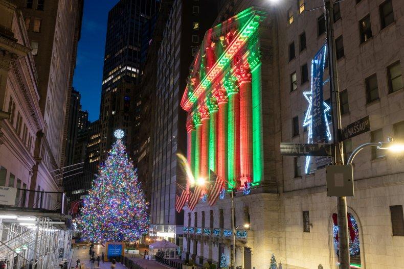 Stock Market NYSE Christmas Lights Tree