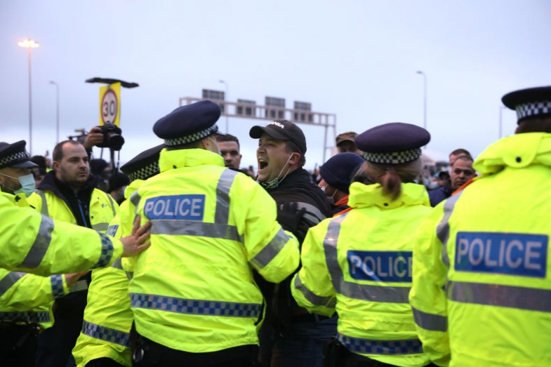 Police and drivers at Port of Dover