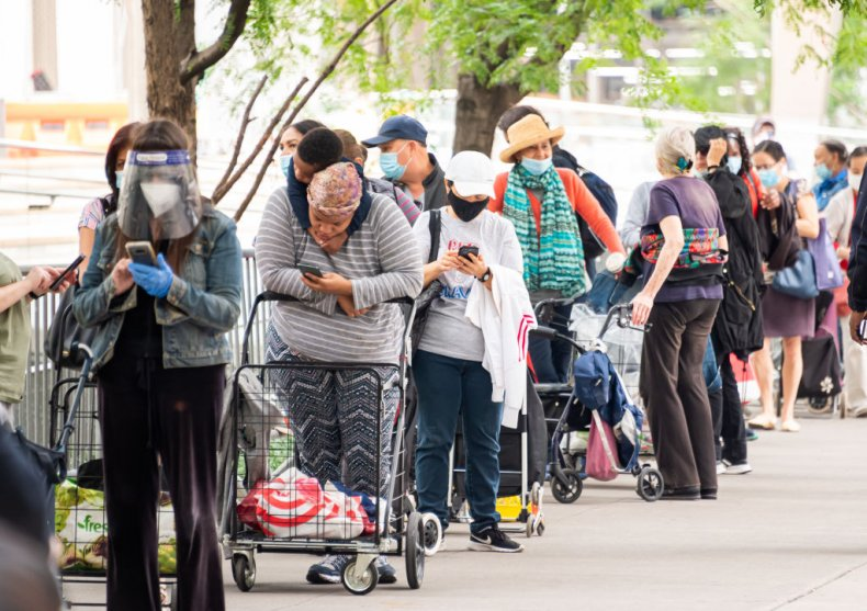 A food bank queue in New York