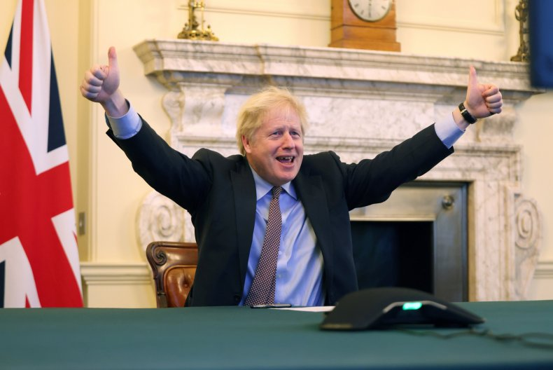 Boris Johnson celebrates Brexit deal