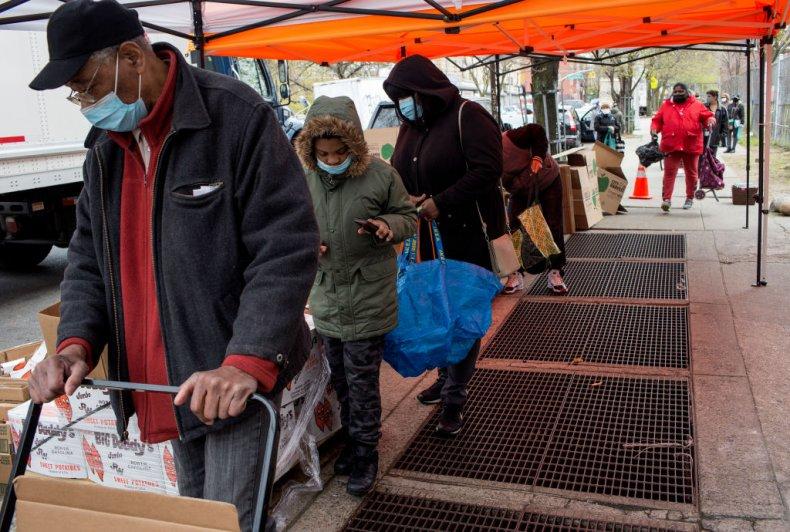 Food bank queue in NYC