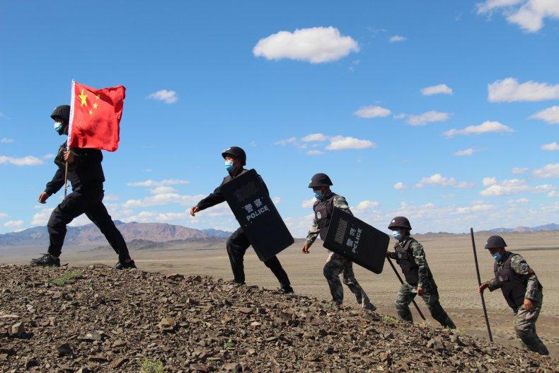 China Border Police Patrol Xinjiang Outskirts