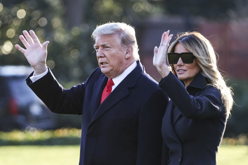 Donald Trump and Melania leave White House