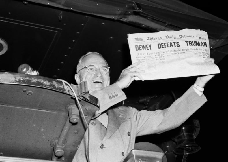 1948: Truman defeats Dewey