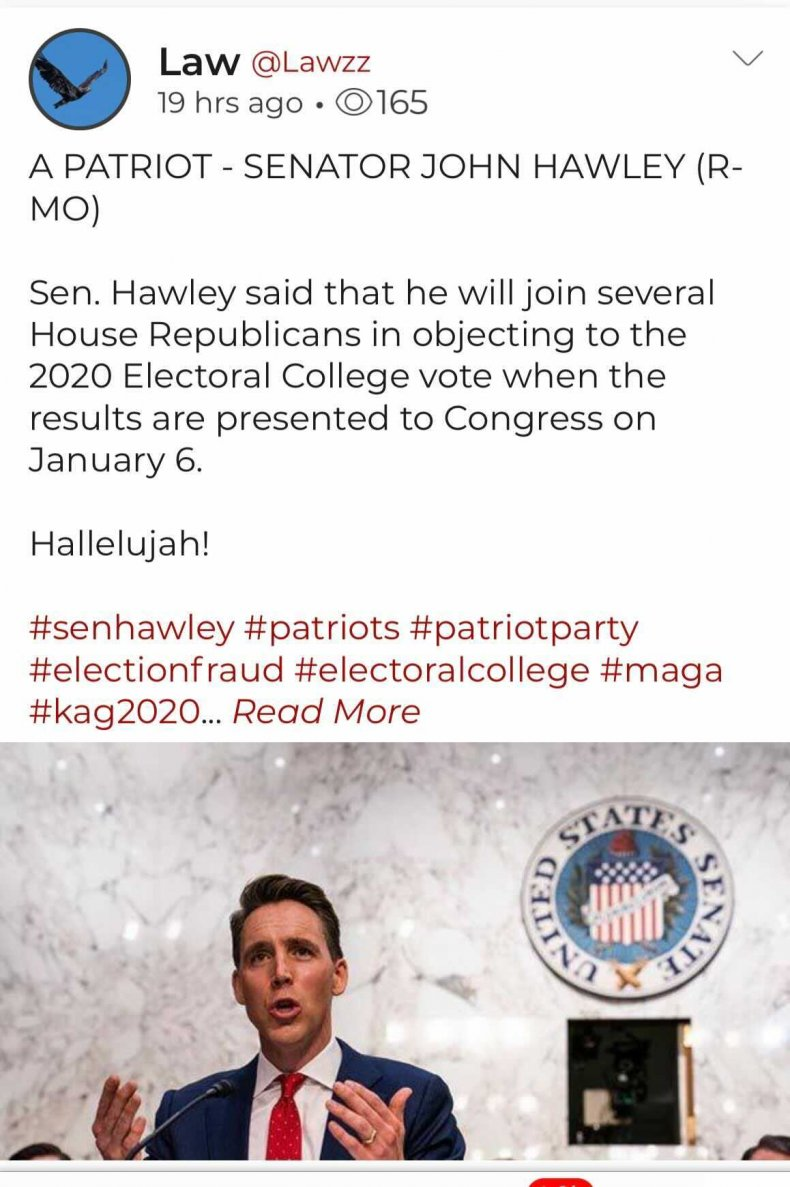 Parler User Praises Senator Josh Hawley
