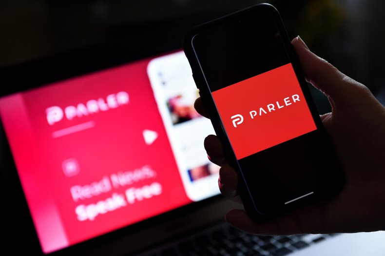 Parler app on cellphone and laptop