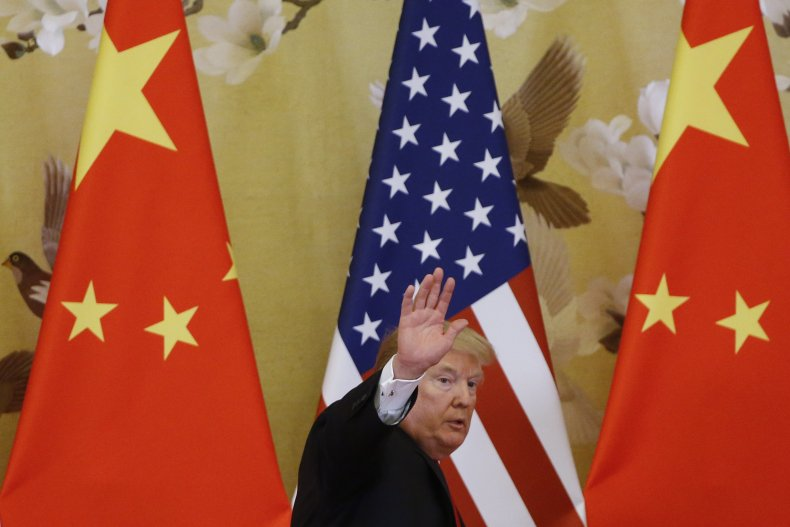 Donald Trump Waves at Crowd in Beijing