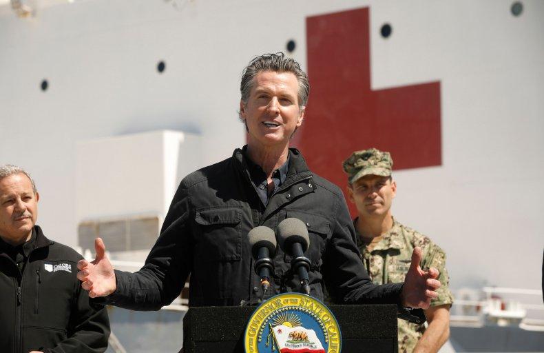 California Governor Gavin Newsom on USNS Mercy