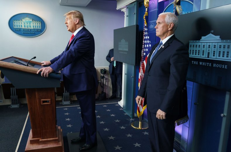 trump and mike pence in brady room