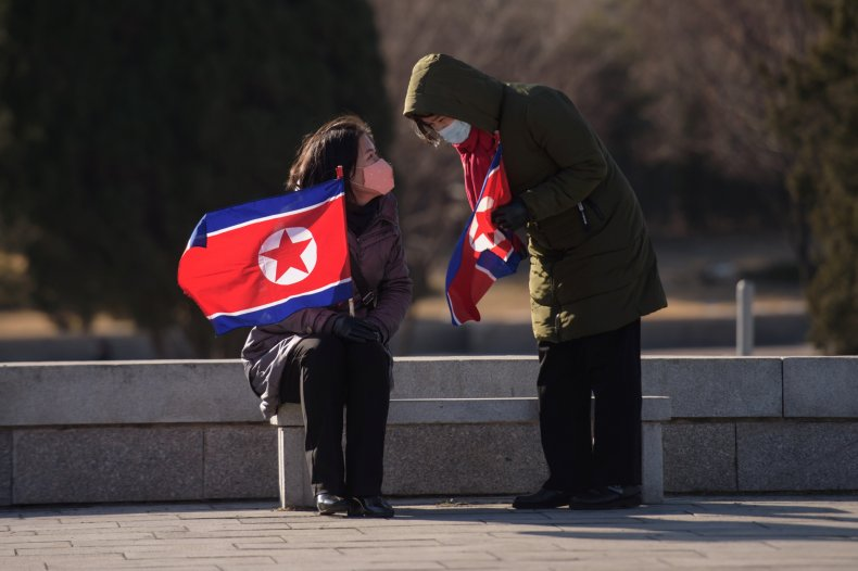 north, korea, flags, people, park