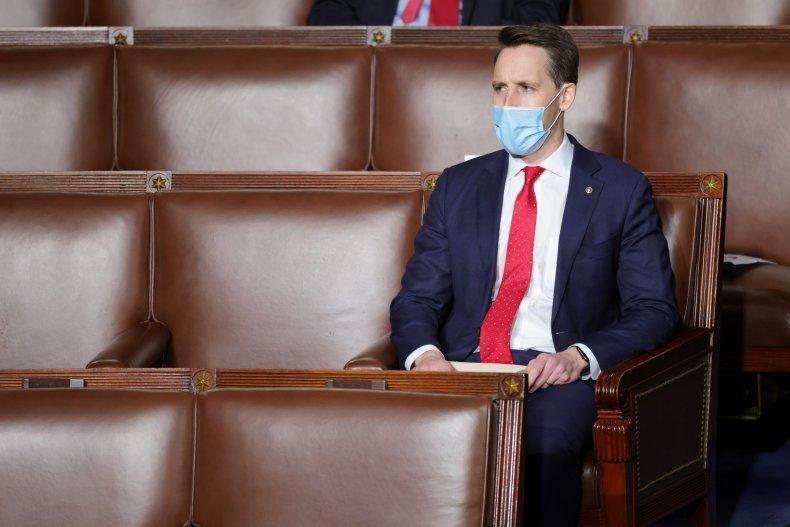 Josh Hawley sits alone on Capitol Hill