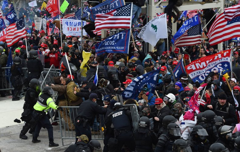 trump supporters clash with police and security