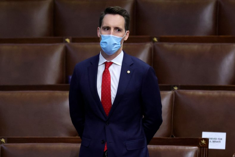 Sen. Josh Hawley stands in Congress chamber