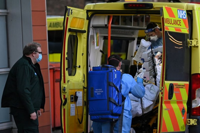 COVID patient in ambulance atRoyal London Hospital