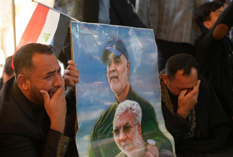 iraq, soleimani, muhandis, anniversary, placard