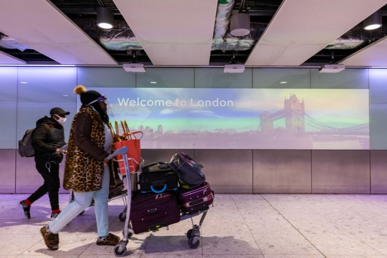 Passengers at Heathrow Airport London during COVID