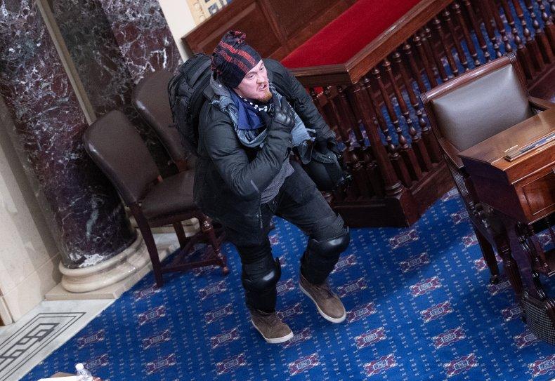 Man on Senate chamber floor