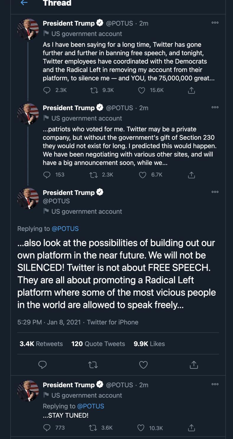 Banned Twitter @POTUS Trump Tweets