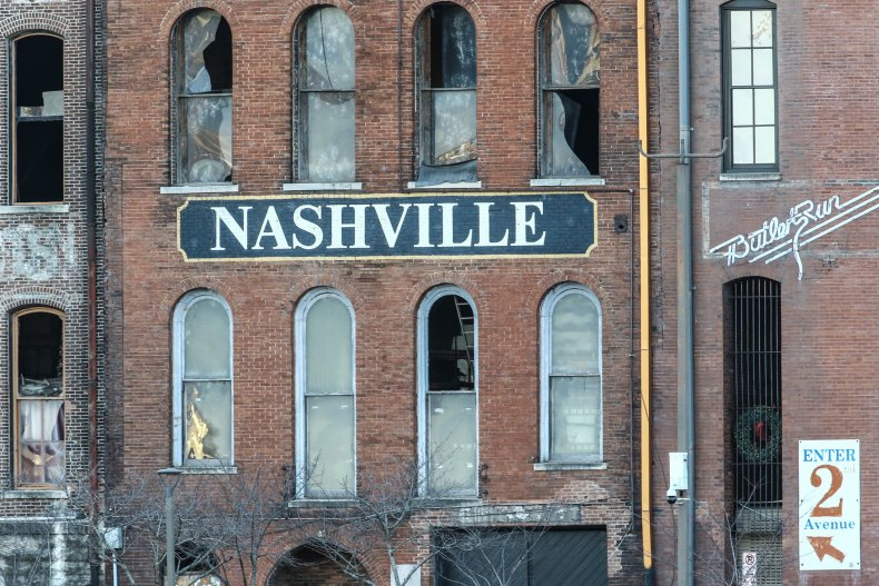 Damage sustained to building in Nashville explosion