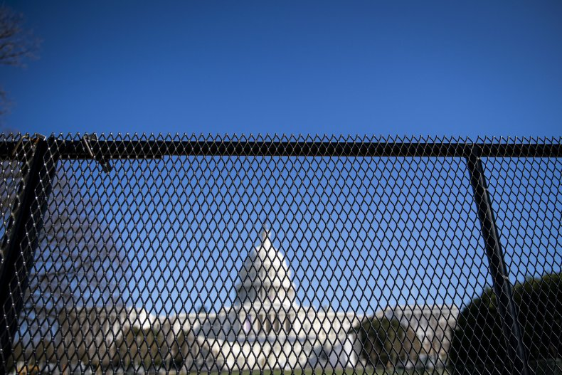 Security fencing around Capitol building