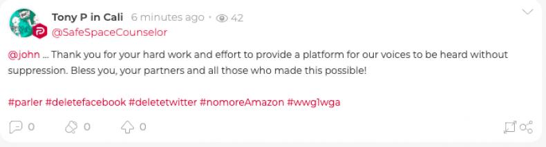 Parler Social Media User Writes Support Message