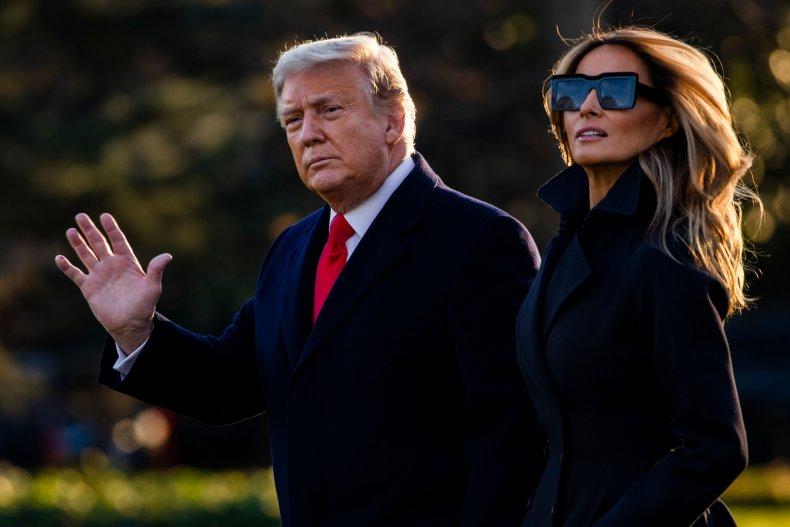 Melania Trump walks with Donald Trump