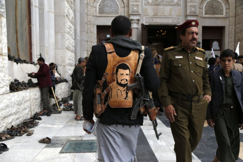 Yemen Houthi fighter pictured in Sanaa
