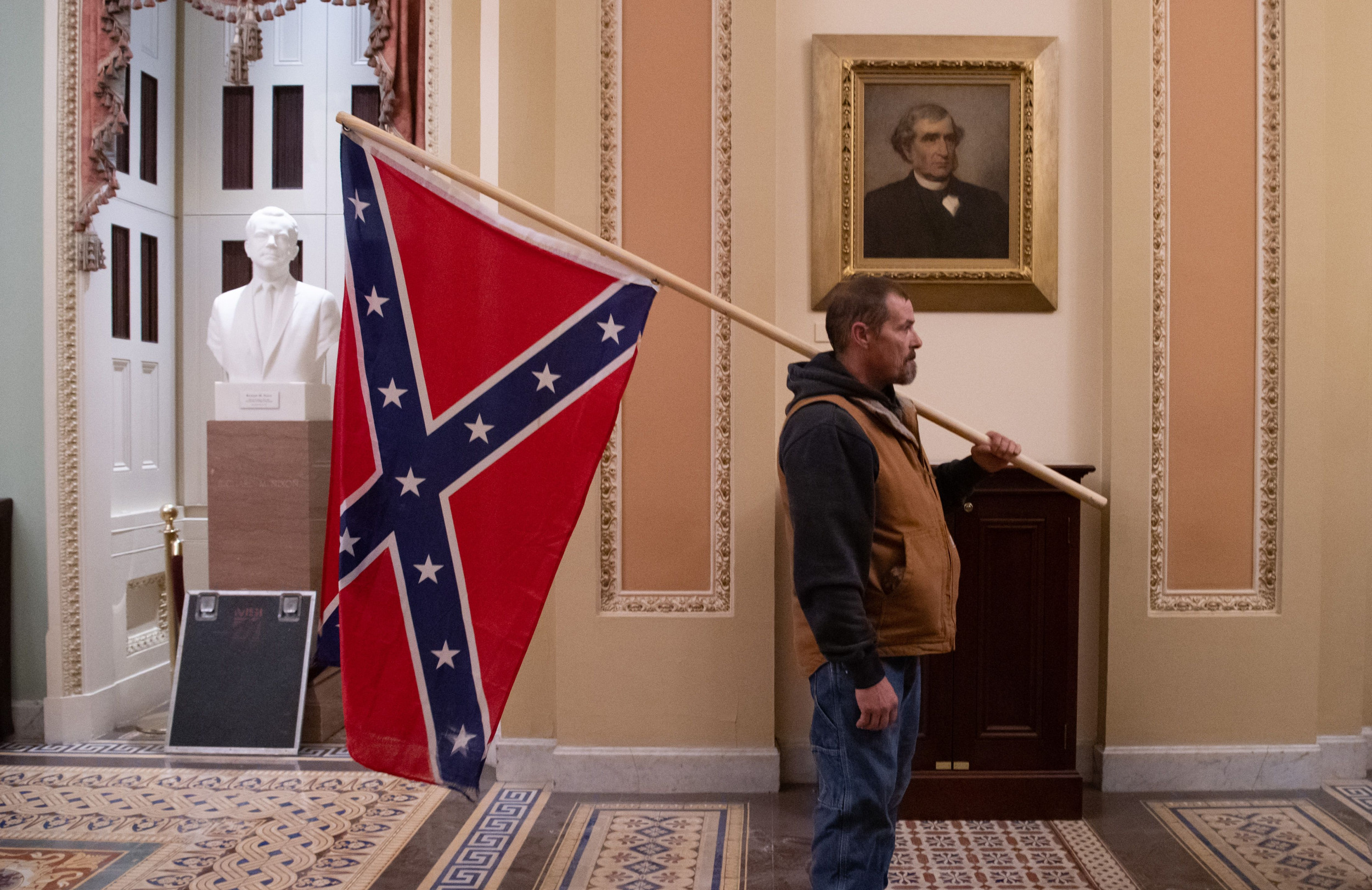 Kevin Seefried, Man Who Carried Confederate Flag During Capitol Riot, Arrested
