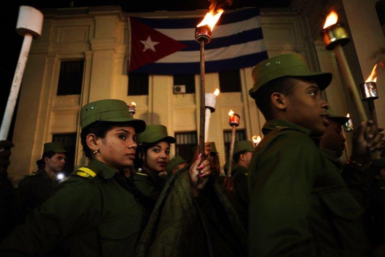 cuba, university, havana, flag, march