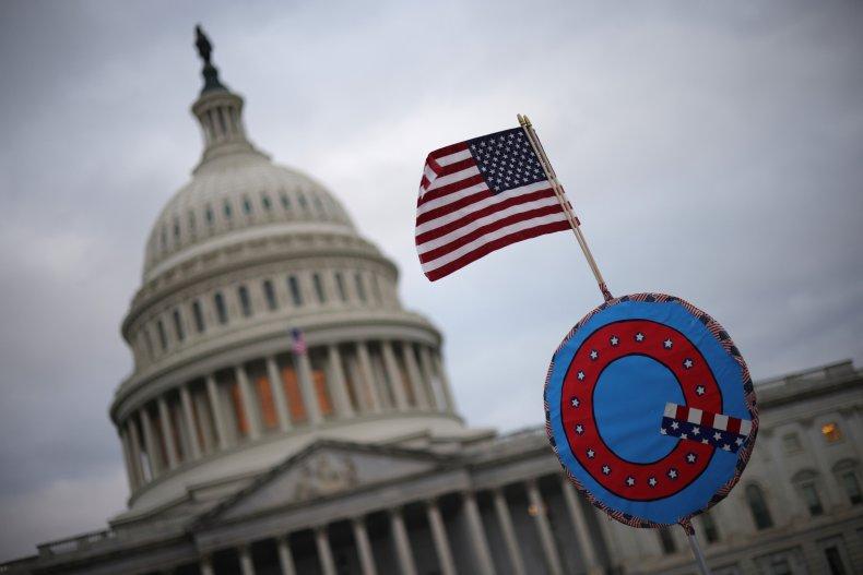 QAnon flag at Capitol Building