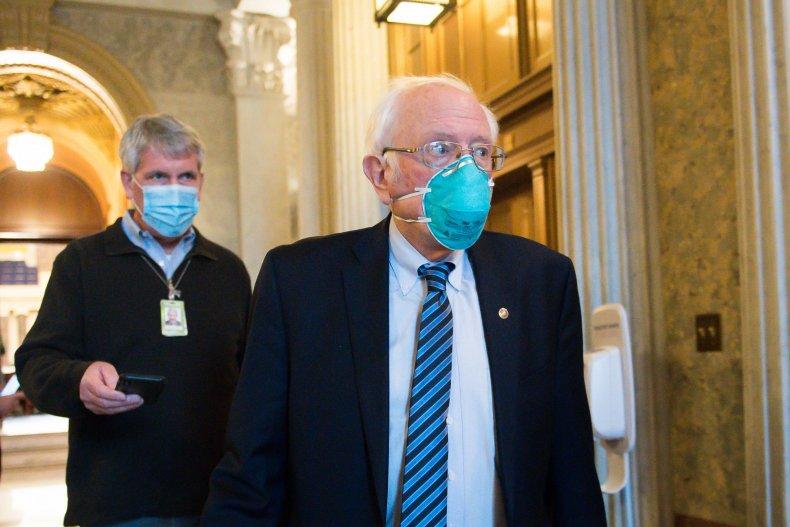 sen bernie sanders leaves the senate floor