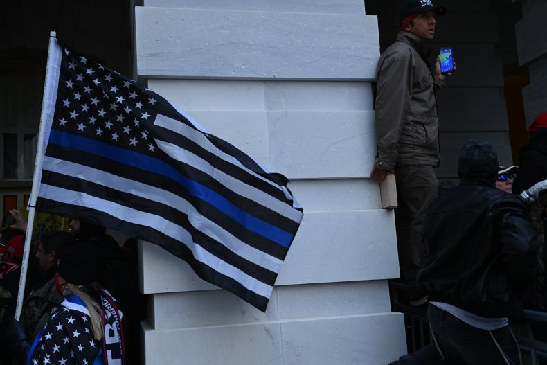 Blue Lives Matter Flag Protest