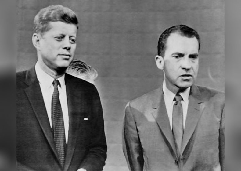 1960: First televised presidential debate featuring candidates