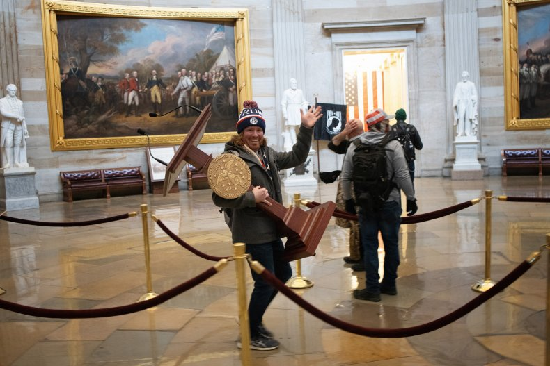 Adam Johnson Capitol Trump Riot Photo Pelosi
