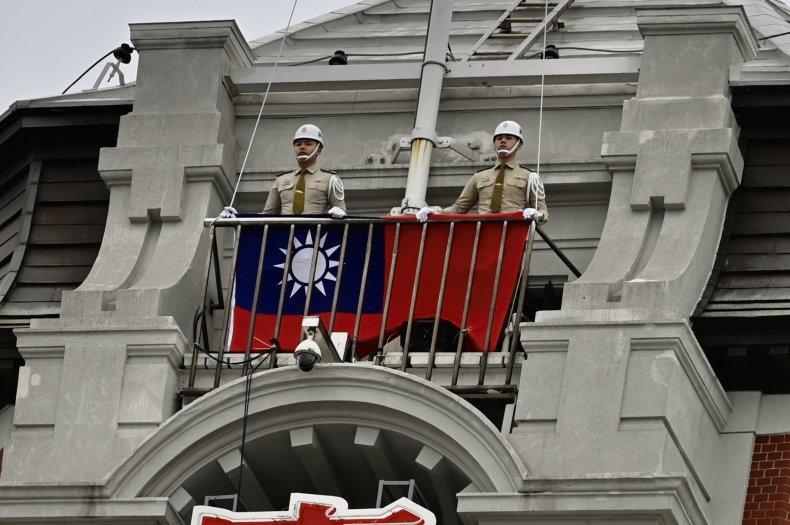 Taiwan MPs Raise National Flag