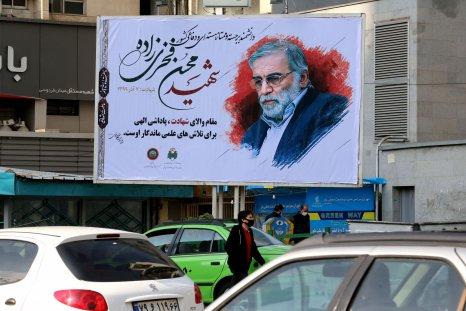 Mohsen Fakhrizadeh banner pictured in Tehran, Iran