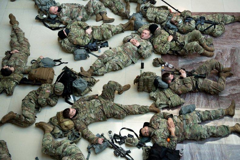 National guard sleep on Capitol floor