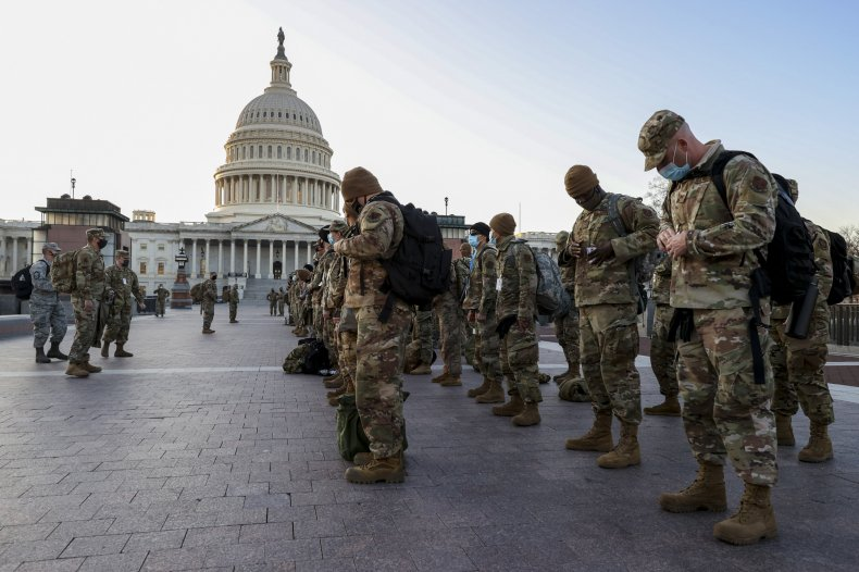 U.S. National Guard arrive at U.S. Capitol