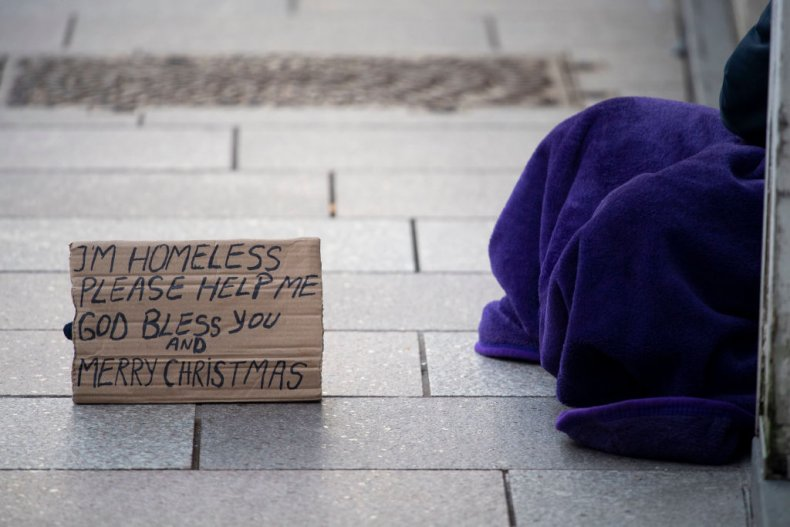 Homeless man sleeping rough in Wales