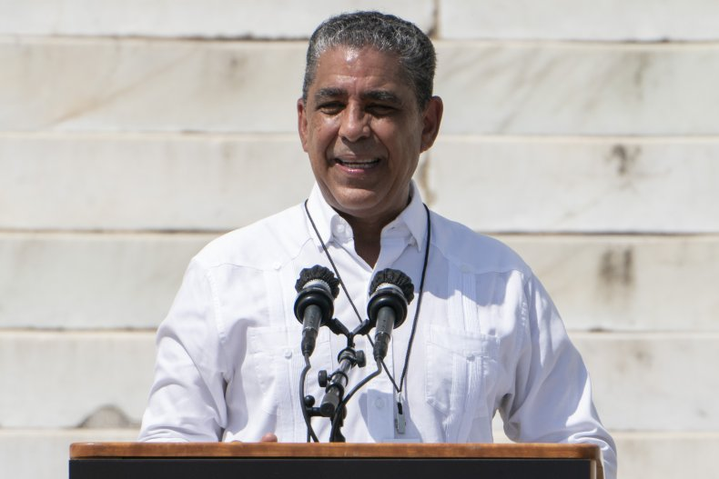 Rep. Adriano Espaillat speaks at a protest