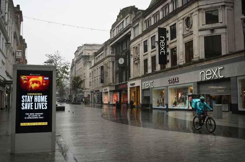 Empty high street in Liverpool during lockdown